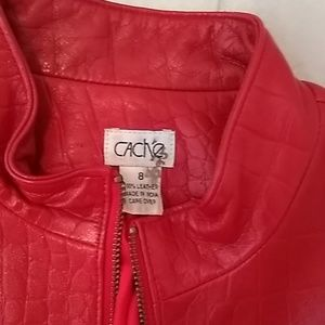 Cashe red leather jacket. Size 8 100% leather. In